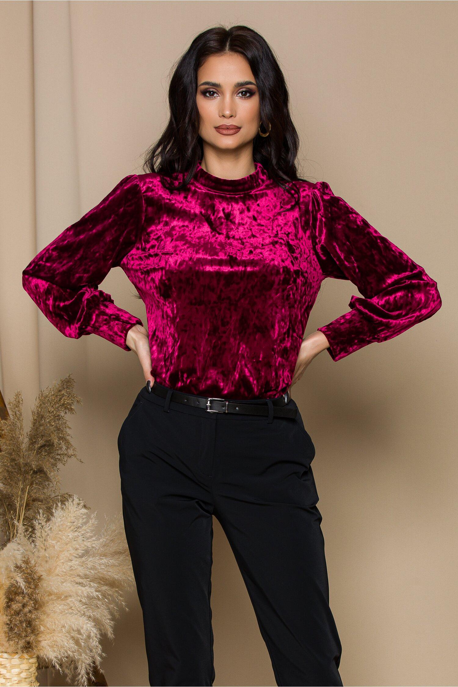 Bluza Dariana bordo din catifea