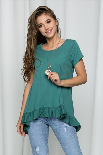 Bluza Davina verde asimetrica accesorizata cu volanase