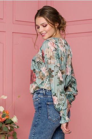 Bluza Deby verde deschis cu imprimeu floral si insertii lurex