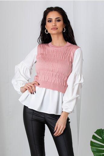 Bluza Deea roz tip camasa cu vesta
