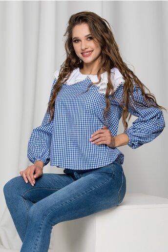Bluza Delia in carouri albastre si guler maxi cu volane