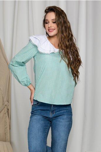 Bluza Delia in carouri verzi si guler maxi cu volane