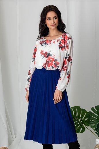 Bluza Dia alba cu imprimeuri florale rosii