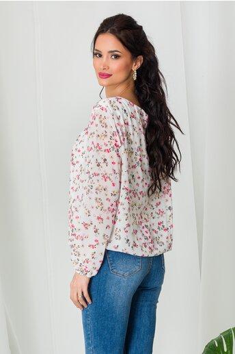 Bluza Dia alba din voal cu imprimeu floral roz