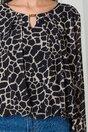 Bluza Dia neagra din voal cu imprimeu divers ivory