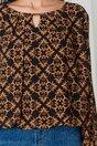 Bluza Dia neagra din voal cu imprimeu divers orange