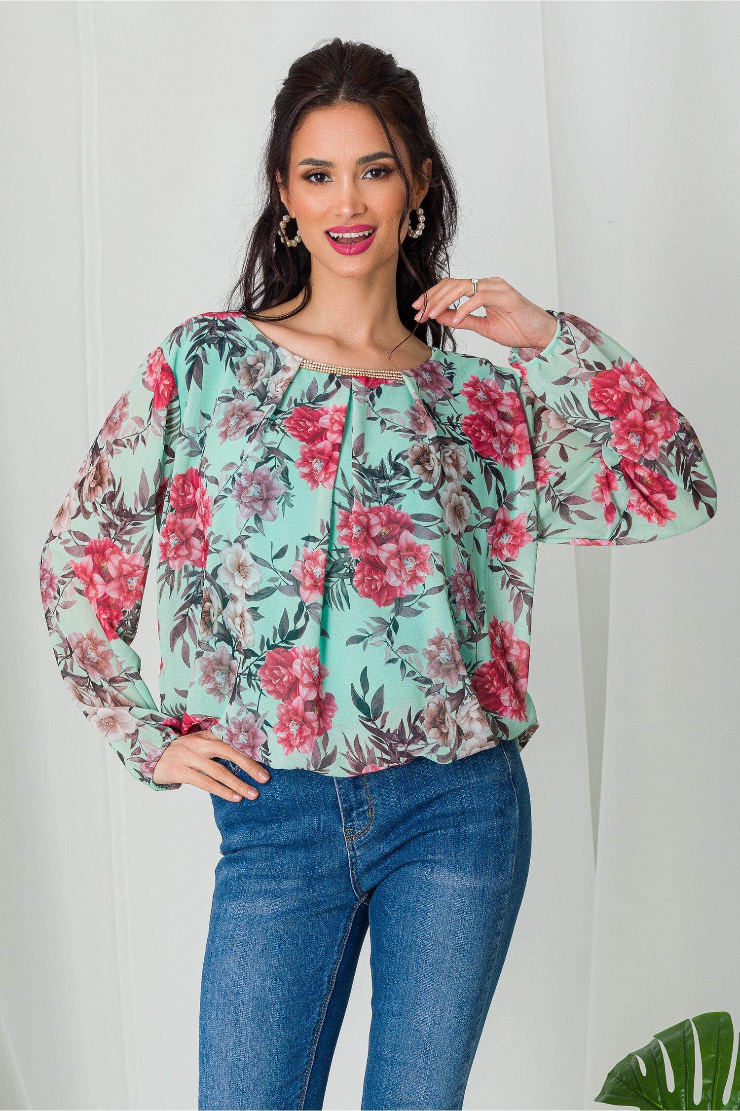Bluza Dia turcoaz cu imprimeuri florale