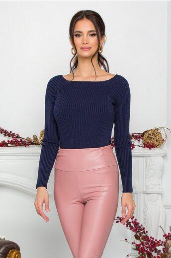 Bluza Diana bleumarin cu decolteu oval maxi