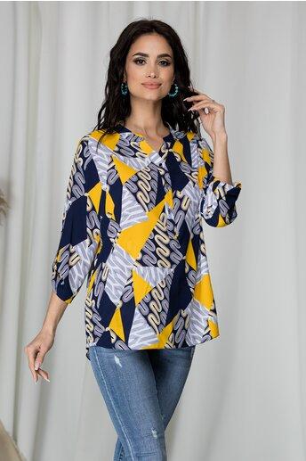Bluza Diana bleumarin cu imprimeu divers galben