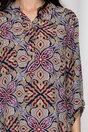 Bluza Diana bleumarin cu imprimeuri bordo si galbene
