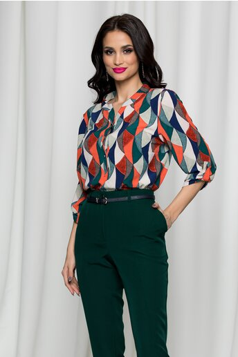 Bluza Diana bleumarin cu imprimeuri multicolore