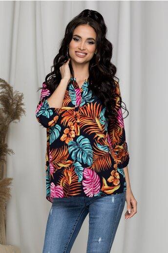 Bluza Diana bleumarin cu imprimeuri multicolore florale