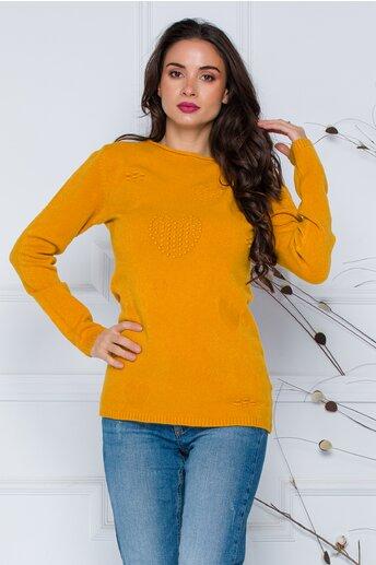 Bluza Diana galben mustar cu model