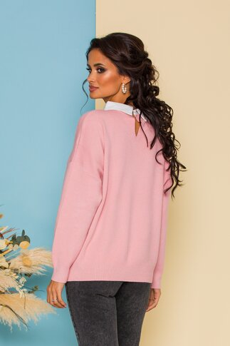 Bluza Diana roz jerse cu guler tip camasa