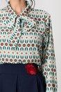 Bluza Dima turcoaz cu imprimeuri diverse