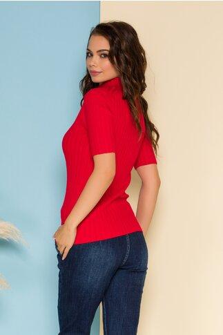 Bluza din tricot rosie mulata cu maneci scurte
