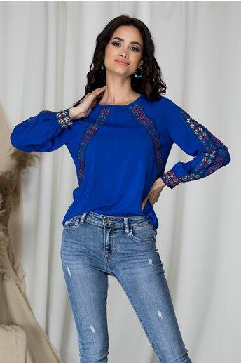 Bluza din voal Moze albastra cu imprimeu floral