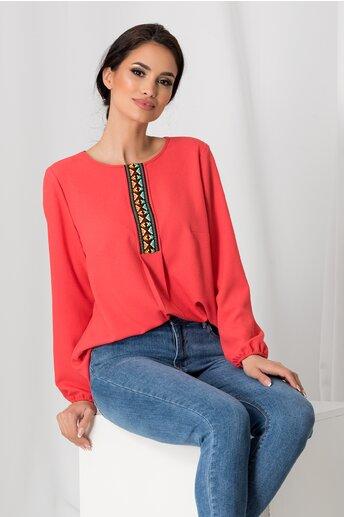 Bluza Dora corai cu broderie traditionala