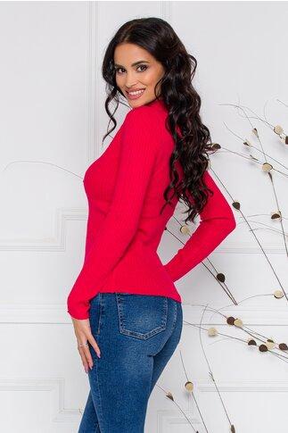 Bluza Dora rosie din tricot reiat cu nasturi delicati la bust