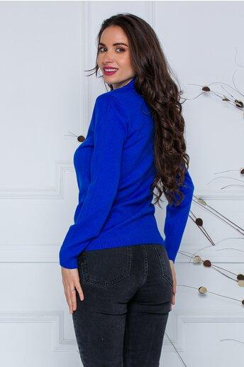 Bluza Dori albastra cu textura striata pe maneci si laterale