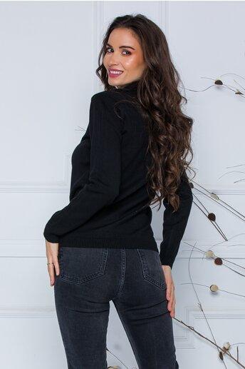 Bluza Dori neagra cu textura striata pe maneci si laterale