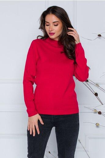 Bluza Dori rosie cu textura striata pe maneci si laterale