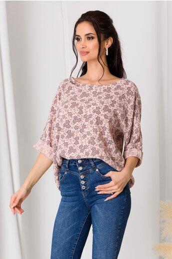 Bluza Dori roz cu floricele