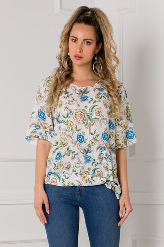 Bluza Dorina alba cu imprimeuri florale