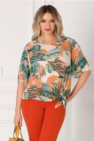 Bluza Dorina cu imprimeu exotic si funda la baza