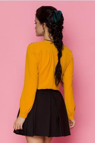 Bluza Doris galben mustar cu dantela si insertii negre