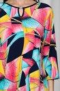 Bluza Elena cu imprimeu multicolor si accesoriu la baza gatului