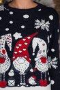 Bluza Elfs bleumarin cu imprimeu de iarna