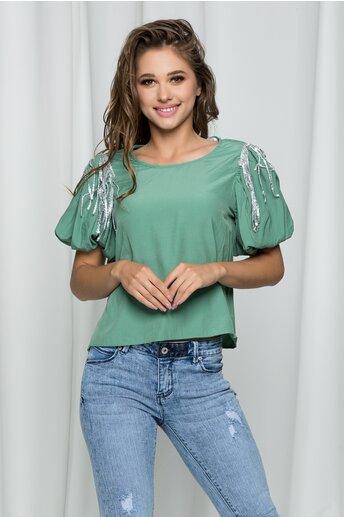 Bluza Elisa verde cu maneci bufante accesorizata cu paiete