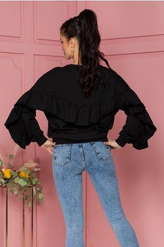 Bluza Elise neagra cu volane pe spate si pe maneci