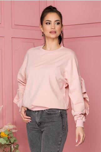Bluza Elise roz cu volane pe spate si pe maneci