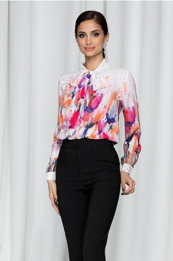 Bluza Ella Collection Bella cu guler tip esarfa si imprimeu floral