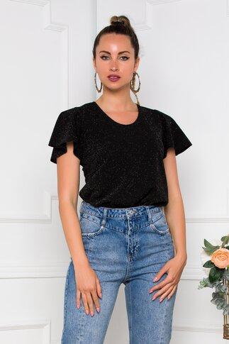 Bluza Ella Collection Ema neagra cu fir stralucitor