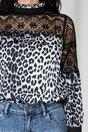 Bluza Ella Collection Jules cu animal print alb-negru si insertii din dantela