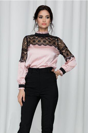 Bluza Ella Collection Jules roz cu guler inalt si insertii din dantela