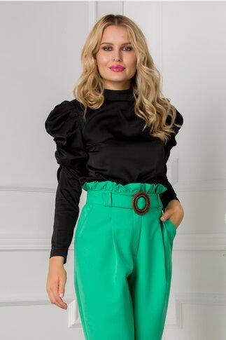 Bluza Ella Collection Kayle neagra cu fronseu la maneci