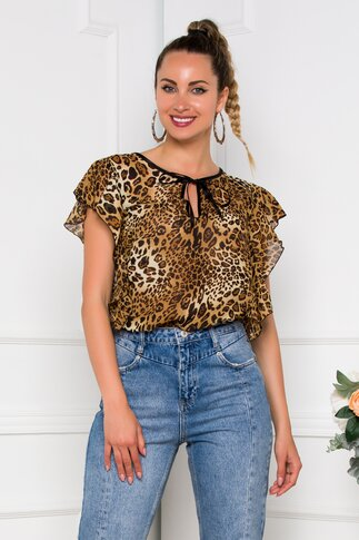 Bluza Ella Collection Lora animal print cu volane