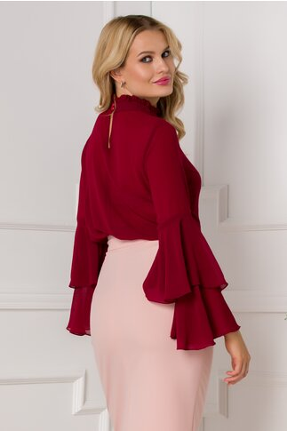 Bluza Ella Collection Lucy eleganta bordo cu maneci tip clopot