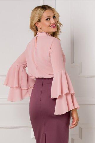 Bluza Ella Collection Lucy eleganta roz pudrat cu maneci tip clopot