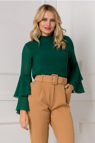 Bluza Ella Collection Lucy eleganta verde cu maneci tip clopot