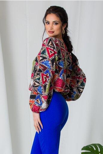 Bluza Ella cu imprimeu geometric multicolor