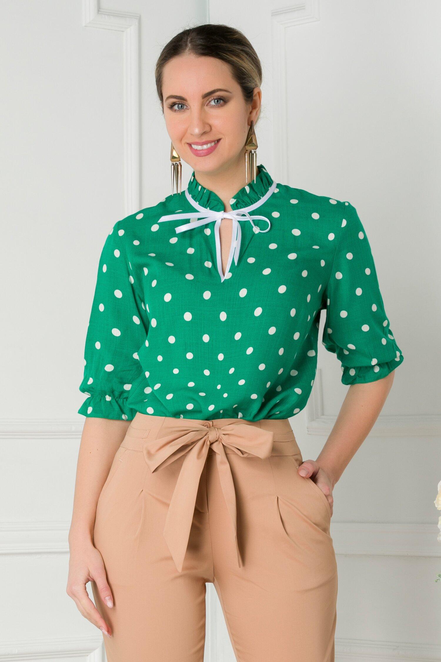 Bluza Ella verde cu buline imagine