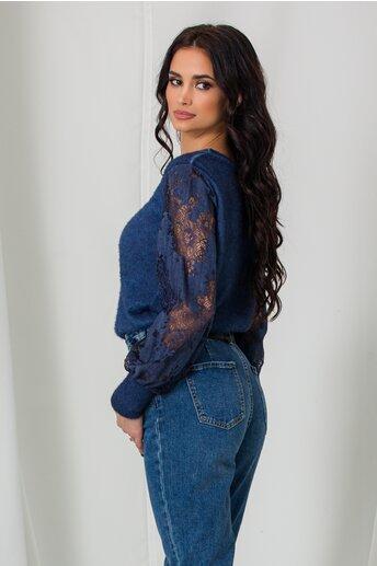 Bluza Emma bleumarin cu insertii din dantela pe maneci