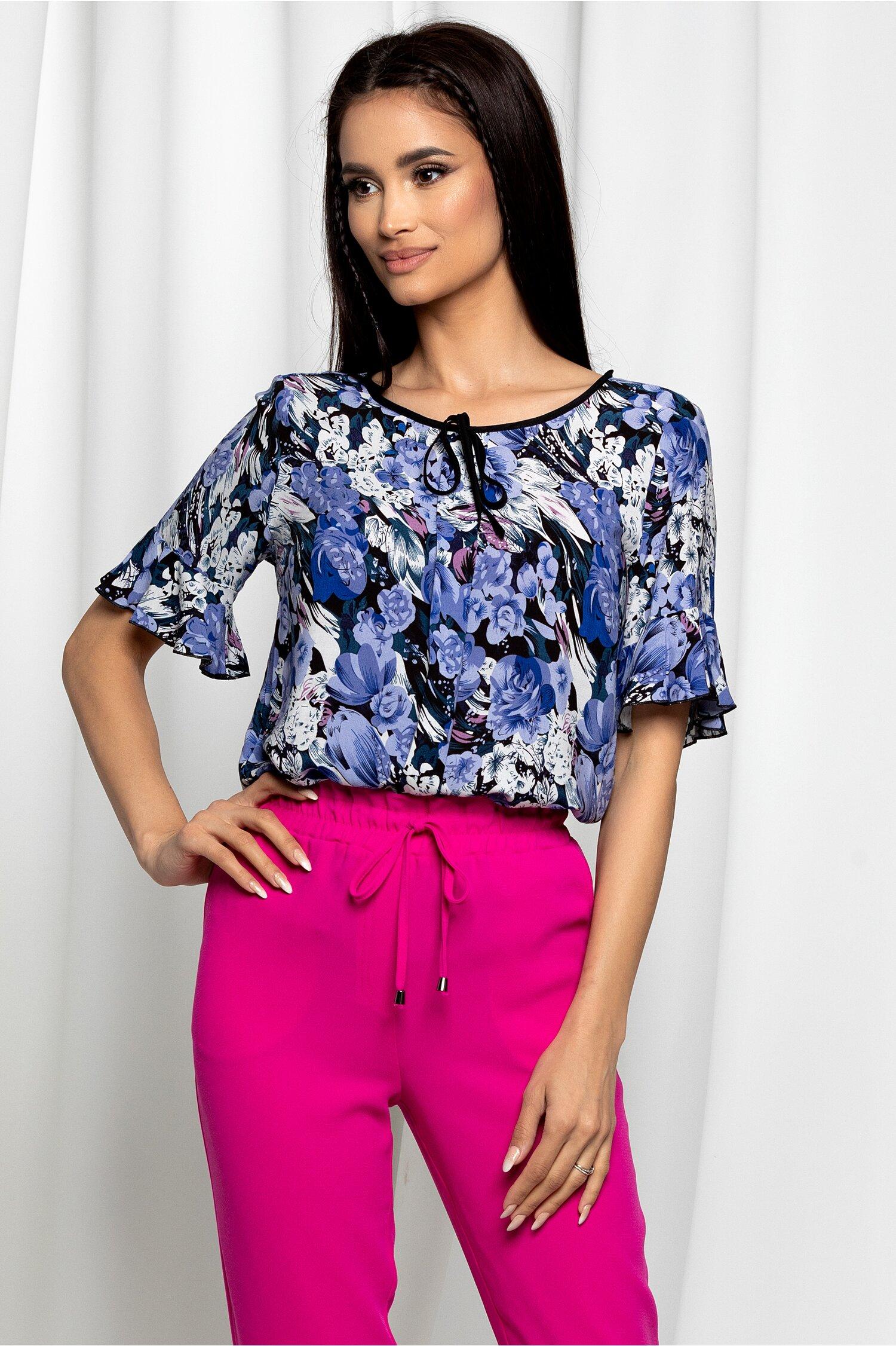 Bluza Esperanza albastra cu imprimeu floral