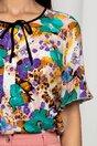 Bluza Esperanza bej cu imprimeu floral mov si turcoaz
