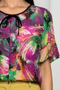 Bluza Esperanza bej cu imprimeu floral verde si mov